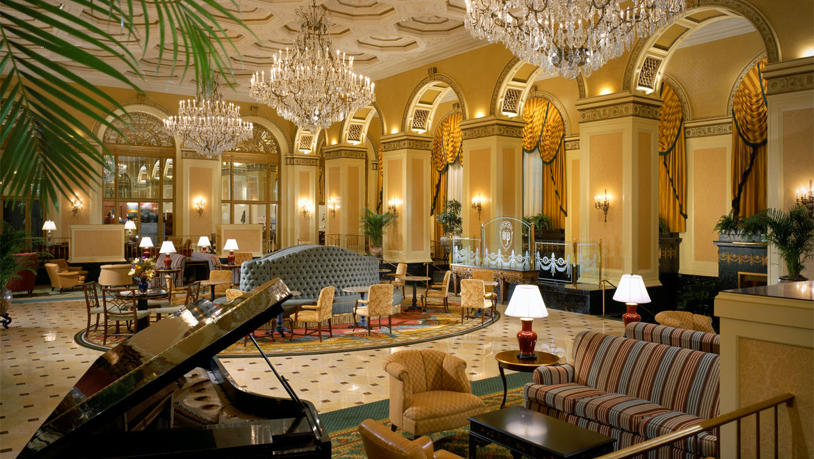 The lobby of the Omni William Penn Hotel