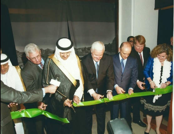 From Left to Right - Dr. Ali Al-Ghabban, Royal Curator; Jack Barbour, Chairman of the Board, Carnegie Museum of Natural History; His Royal Highness Prince Sultan Bin Salman, Kingdom of Saudi Arabia; Tom Corbett, Governor of Pennsylvania; Ambassador Adel A. Al-Jubeir, Ambassador from Saudi Arabia to the United States; Hon. Rich Fitzgerald, Chief Execuitve of Allegheny County; Simin Curtis, President & CEO, American Middle East Institute